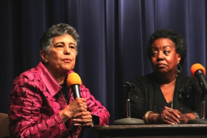 Carlotta Walls Lanier (left) and Edith Lee-Payne (right) speak with students at McCluer South-Berkeley High School.